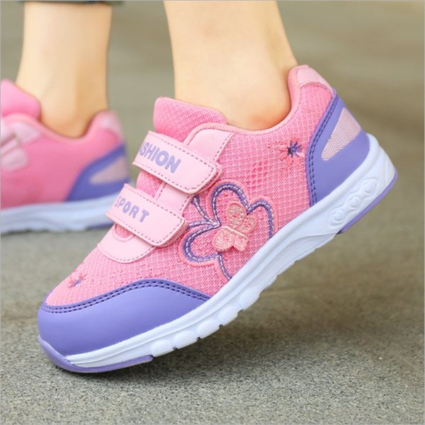 2017 Children Casual Shoes Girls Embroidery pattern Kids Fashion Sneakers Boys Casual Sport Child Butterfly Shoes