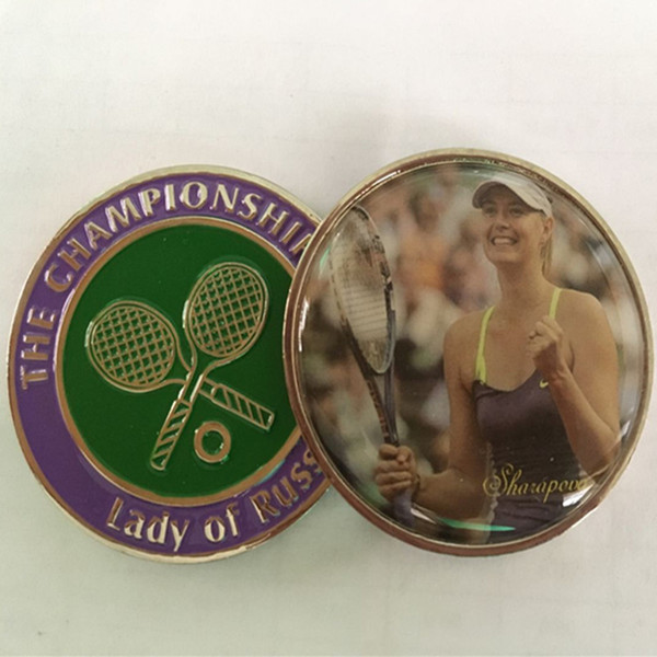 50 pcs The famous Russia Tennis woman player Sharapova sport silver plated colored souvenir 40 mm coin