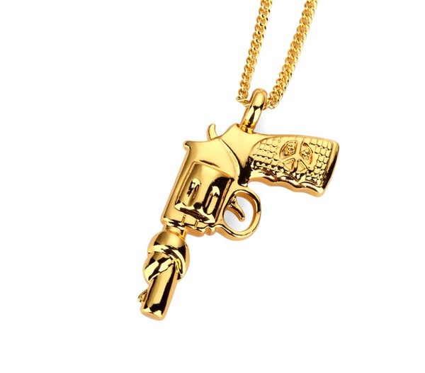 Wholesale 18K Gold Revolver Gun Pendant Necklace Hiphop Hip Hop Bad Girl  Star High Quality Zinc Alloy Jewelry Women Men Popular Pendant Necklaces  Red