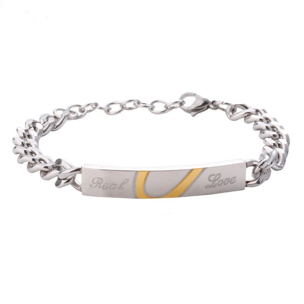 316l Stainless Steel Silver Real Love Heart Bracelet Wristband Charm Bangle For Lover Men Woman Party Gift fashion jewelry 18.5+5CM