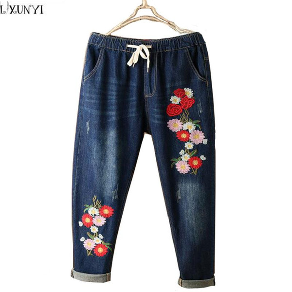 Wholesale- National Style Flower Embroidered jeans Women Washing Drawstring Plus Size Denim Pants For Ladies Elastic Waist Trousers Female
