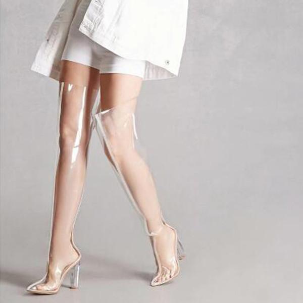 2017 verano nuevo estilo botas de moda sobre la rodilla Botas altas hasta el muslo tacón grueso PVC claro botas de mujer sexy más tamaño de las mujeres
