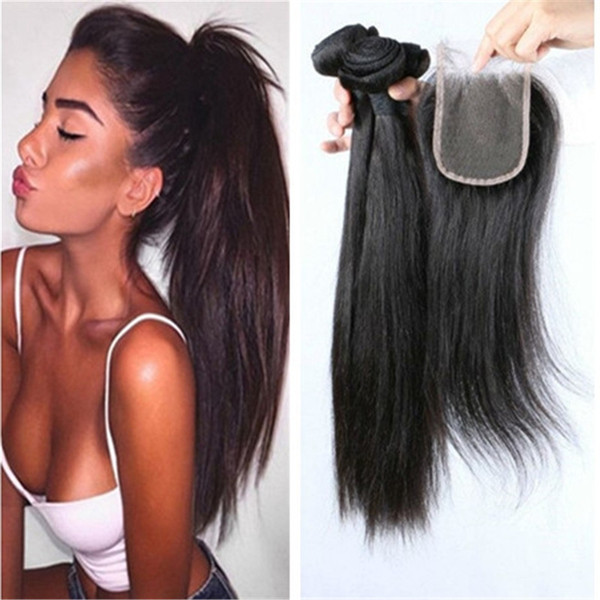 Lace Closure With Bundles Brazilian Hair Wefts 3pcs Straight Hair Weaves With Closure Natural Color 8A