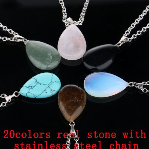 Drop Natural Stone Chain Necklaces