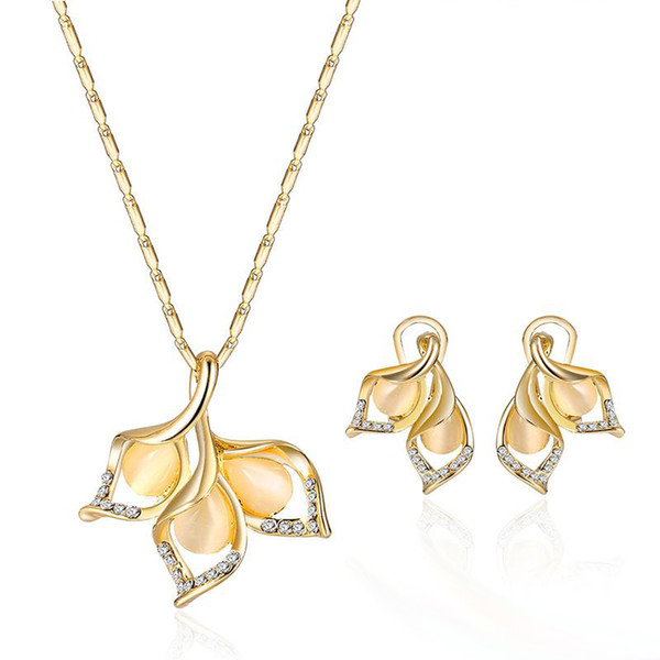 2017 Opal Crystal Flower Necklace Earrings Jewelry Sets Gold Chain Fashion Wedding Jewelry Gift for Women