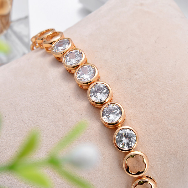 European simple OL muter Lucky Diamond Bracelet Size 250 8 14K