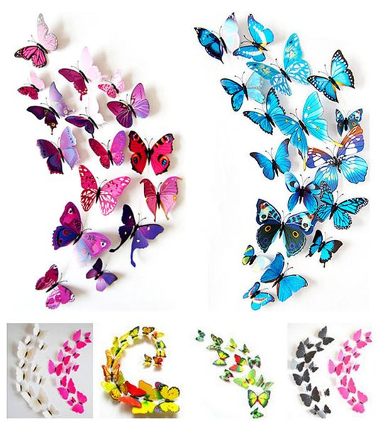 Al por mayor-Venta caliente 12 UNIDS 3D Imán de PVC Mariposas DIY Etiqueta de La Pared Decoración Del Hogar Poster para Habitaciones de Los Niños t Decoración de La Pared Envío de La Gota