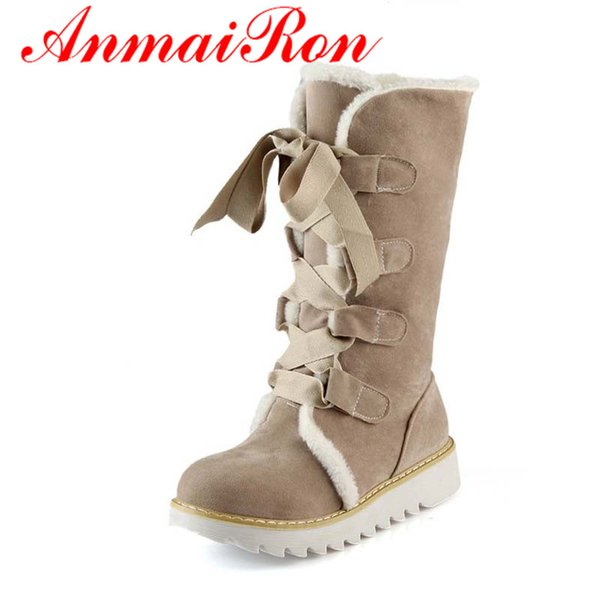 Wholesale-ANMAIRON New Hot Sale Half Knee Boots Fashion Thick Fur Warm Winter Shoes Vintage Lace Up Platform Outdoor Snow Boots for Women