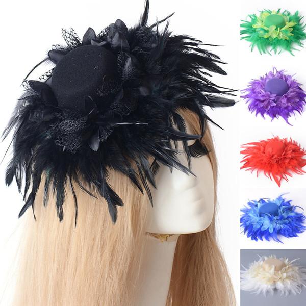 6pcs/lot new lady fashion handmade mini top hat cap feather fascinator hair clip wedding party fancy dress accessory headwear