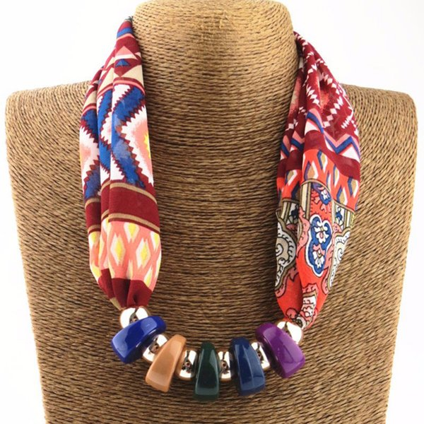 Wholesale- 2017 New Hot Women Printed Silk Scarves Necklace resin beads Neckerchief Chiffon Scarves Ring Silk Muffler Six Color