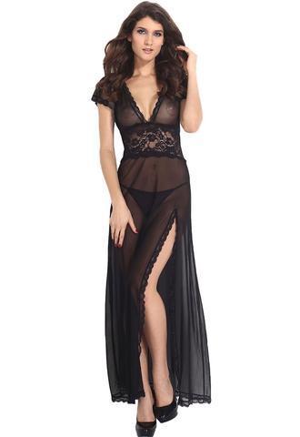 Long Dressing Gown V neck Split with G String,Women Sexy Long Dressing Night Gown Sheer Transparent Dress Sleepwear Lingerie +Thong Set