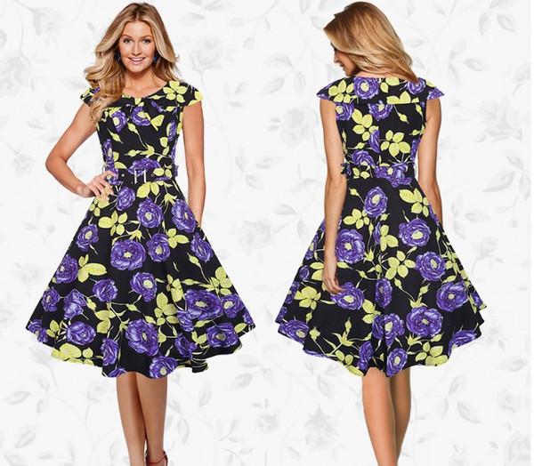 Floral Printed Party Dress Sailor Collar Short Sleeve Flower Vintage Casual Large Swing A Line Dresses 2017 Summer Hot Sale