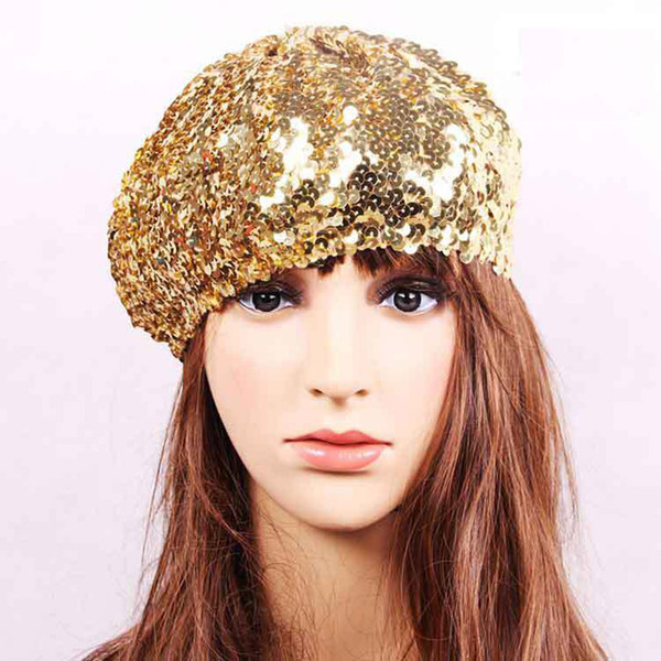 Wholesale-Wholesale and Retail Stylish Party Sequin Beret Stretch Shiny Night Club Dance Stage Performance Hat Cap For Girls Women