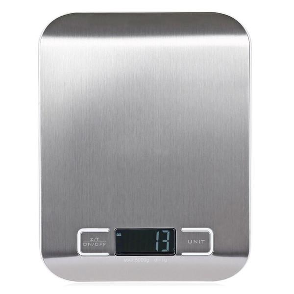 Retroiluminación LCD Balanza de cocina digital Plataforma de acero inoxidable a prueba de huellas dactilares 5000g / 1g Dispositivo de pesaje Escala eléctrica para alimentos