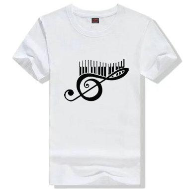 Musiknote T-Shirt Schönes silbernes kurzes Ärmelkleid Bild T-Shirts Freizeit-Druckbekleidung Unisex-Baumwolle T-Shirt