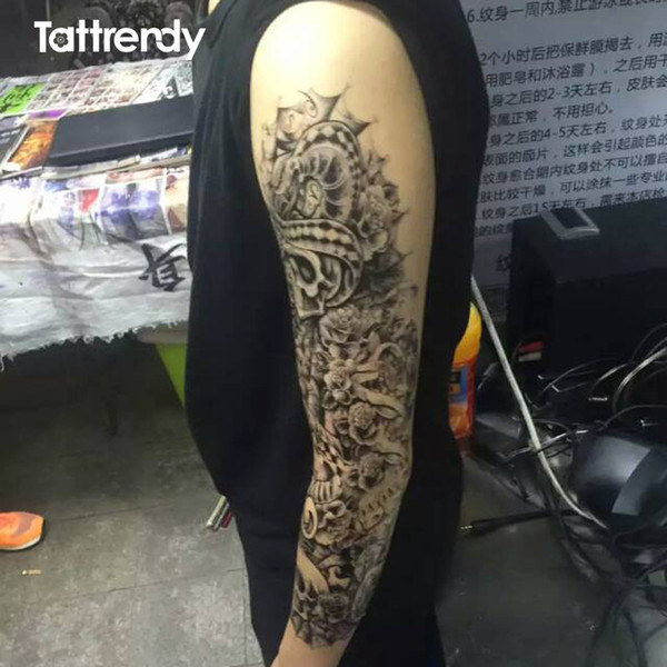 Atacado-5pcs / lot Projeto mais novo 2016 grande impermeável falso colar adesivo perna pintura completa braço tatuagem de papel mangas no ombro do corpo