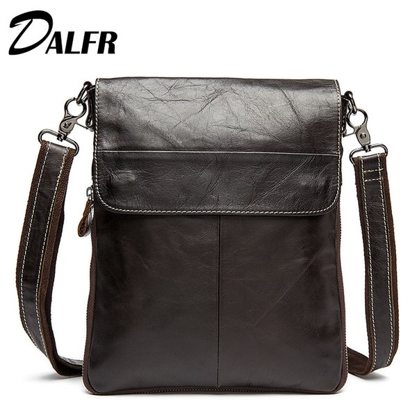 Wholesale- DALFR Genuine Leather Messenger Bags 14 Inch Solid Cowhide Shoulder Bags Fashion Zipper Style Water Proof Bags for Men