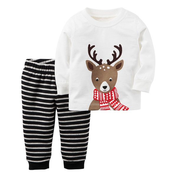 Kids Elk printing homewear 2pc sets Wearing a scarf deer printed long sleeve T shirt+striped pants boys girls Christmas pajamas
