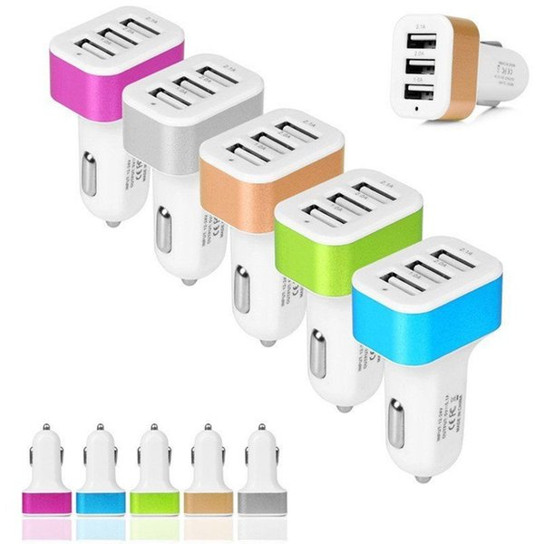 2017 Universal Triple USB Car Charger Adapter USB Socket 3 Port Car-charger For iPhone Samsung Ipad Free DHL If more than 200pcs