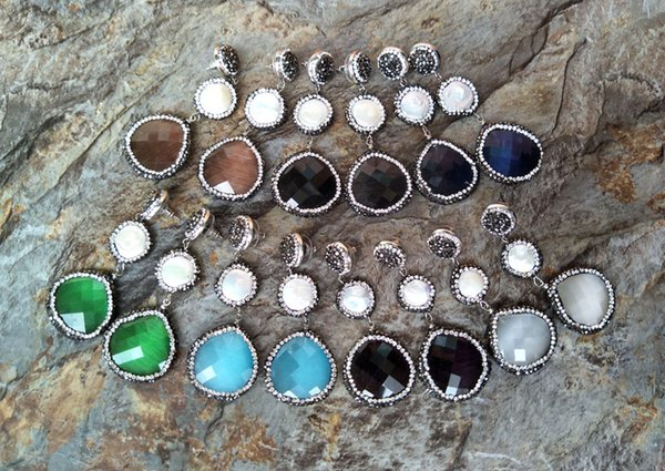 Opal Crystal Stud Earrings ,Paved Rhinestone Beads Water Drop Dangle Earring,Pearl Handmade Jewelry ER166