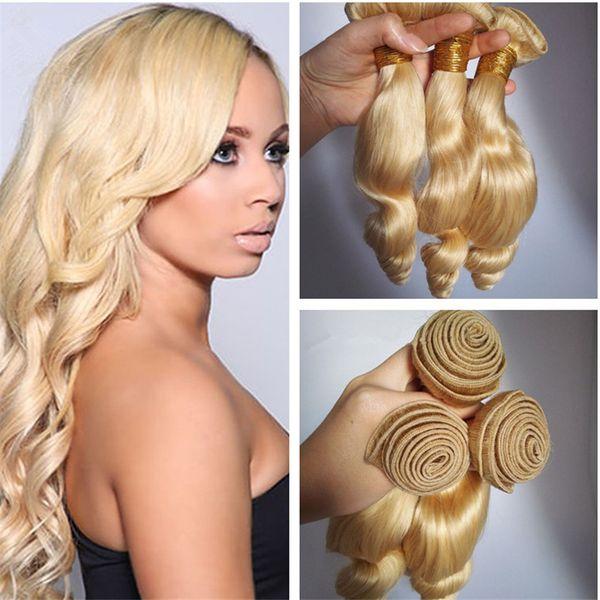 8A Grade Peruvian 613 Blonde Loose Wave Human Hair Weaves 3Pcs/Lot Platinum Blonde Virgin Hair Extensions 3 Bundles Dhl Free