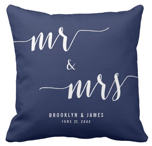 Superb Pillows Case Custom Mr And Mrs Navy Blue Wedding Square Sofa And Car Cushions Cover 16Inch 18Inch 20Inch Pack Of X Outdoor Patio Cushion Covers Pabps2019 Chair Design Images Pabps2019Com