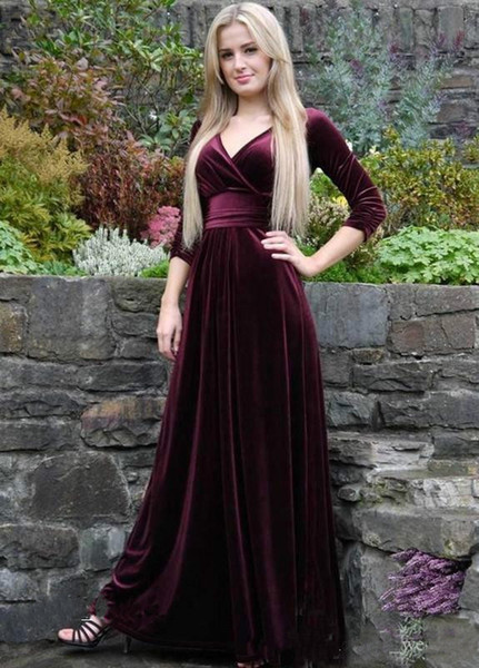Wine Red V Line Ruffles Velvet 2017 Evening Dress Sexy High Waist Long Sleeve Sweep Train Charming Prom Party Gown Formal Wear