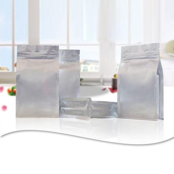 amostra completa conjunto de embalagem de grau alimentício prata alumínio resealable ziplock sacos de folha de fundo plano