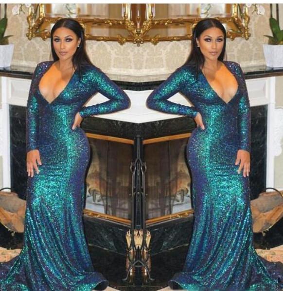 Seksi Derin V Yaka Sequins Mermaid Balo Elbise Kollu Abiye Sparkle Uzun Artı Boyutu Örgün Akşam elbise Kadın Gelinlik Modelleri