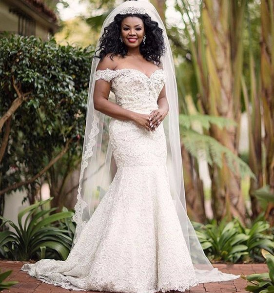 South African Plus Size 2018 Wedding Dresses Mermaid Sweetheart Beaded Lace Formal African Bridal Gowns Elegant Corset Back Custom Made