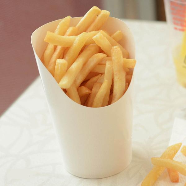 Одноразовые белая бумага картофель фри держатель чашки жареного цыпленка закуски коробка кухня выпечки пакет контейнеры для вечеринок 100 шт. / лот CK136