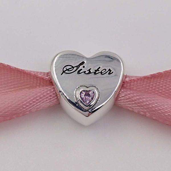 Familie 925 Sterling Silber Perlen Schwester Liebe Charme passt europäischen Pandora Style Schmuck Armbänder Halskette 791946PCZ