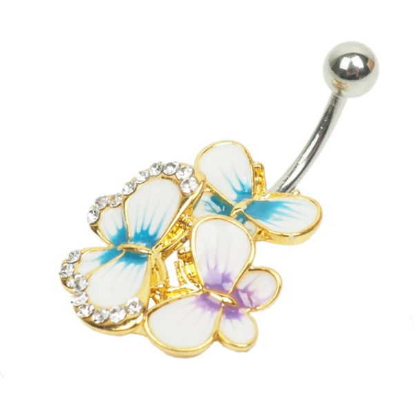 fashion vision 3 color butterfly Crystal Stainless Steel Lip Body Piercing Rings Stud Piercing Tragus Body Jewelry Unisex HBOD00005