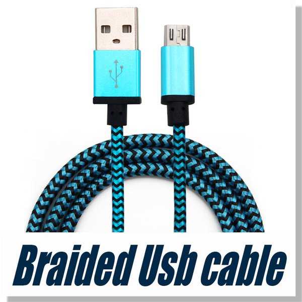 USB Cable Fabric Braid Sync Data For Type C Charging Charger Cable Mirco USB Cable for Universal Cellphones without Package