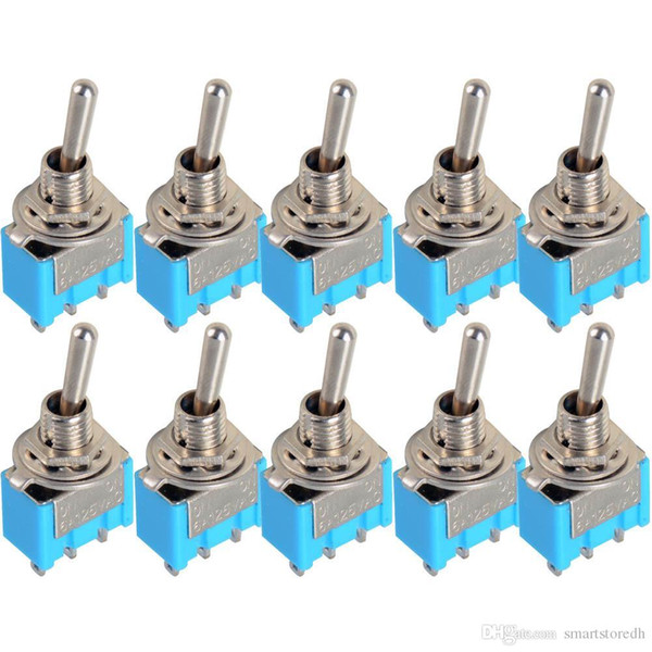 best selling 10Pcs Blue Mini MTS-102 3-Pin SPDT ON-ON 6A 125VAC Miniature Toggle Switches B00048 JUST