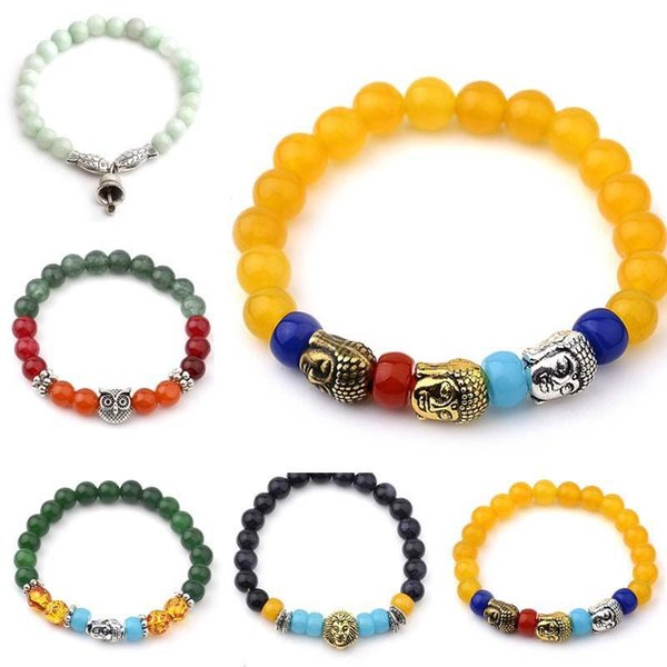 10 colors Colorful Stone Buddha beads Bracelet Silver Lion Fox Buddha Charm Yoga Power Bracelets wristbanb bangles for Women Men