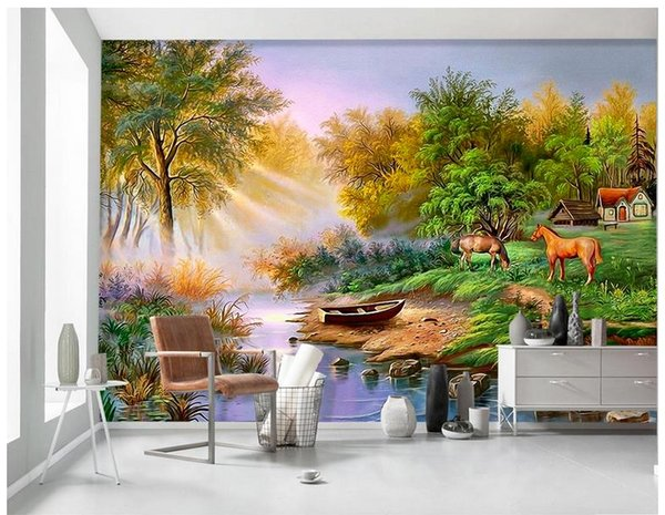 High end Custom 3d photo wallpaper murals wall paper Hand painted Nordic woods elk 3D living room wallpaper background wall home decor