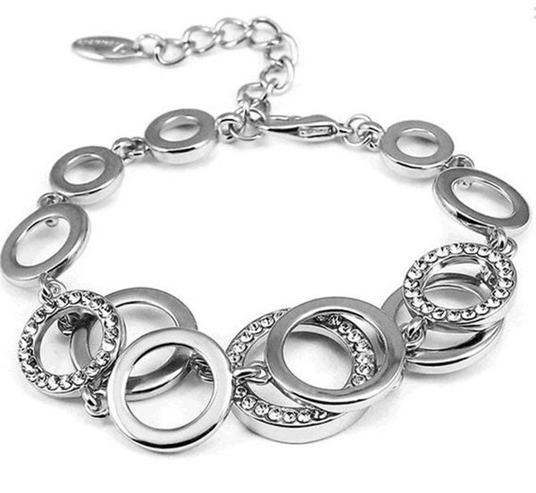 2017 Wholesale Rose Gold/Silver Color Circles Bracelet & Bangles for Woman Rhinestones Paved Double Layer Round Female Sexy Bracelets