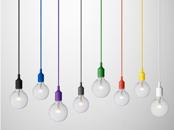 Colorful Pendant Lamp 1 Head Multi-colored Silicone E27 Art Pendant Lights For Modern Bar Restaurant Bedrooms Shopping Mall