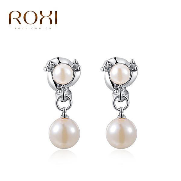 ROXI Fashion Jewelry Man-made Bead Earring For Women Pierced Ears Earrings Pure Hand Elegant For Women Wedding Christmas Gift