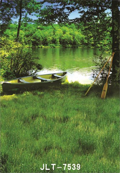 pittoresque petit lac bateau mariage enfants vinyle arrière-plans pour les accessoires de studio photo bébé toiles de fond pour la photographie