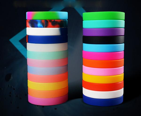 100 ADET Silikon Boş Bilezik Renkli Unisex Bileklik Kauçuk Silikon Bilezik Spor Aktivite Bilek Bandı Moda Takı Promosyon Hediyeler