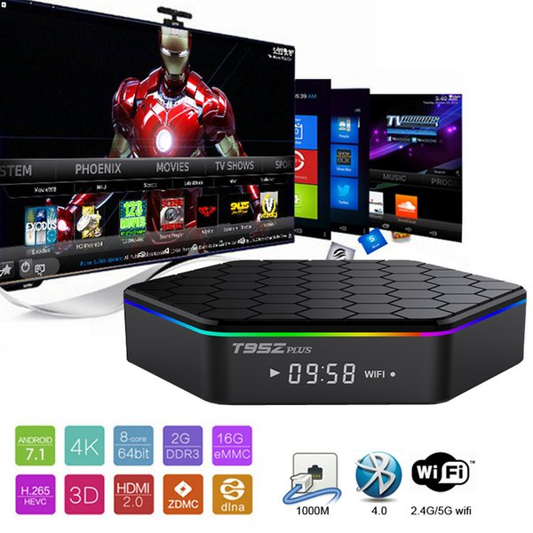 Best S912 TV Boxes T95Z plus 2gb 16gb Octa Core Dual band WiFi Bluetooth Android 7.1 smart tv box Streaming media player