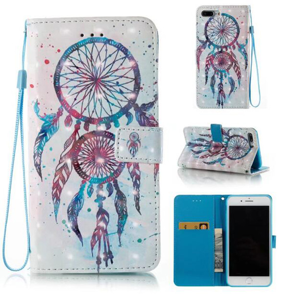3D Leather PU Fashion Friend Custodia Dream catcher per iphone 7 plus 6 6S 5S SE Galaxy S8 PLUS bordo S7