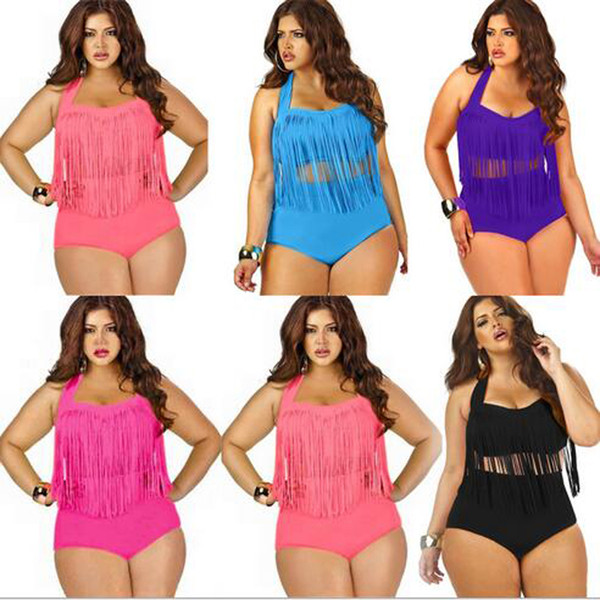 d19455dae32 Summer Bikini Plus Size One piece Tassels Swimwear Sexy V Neck Women  Swimsuit Padded Boho Fringe