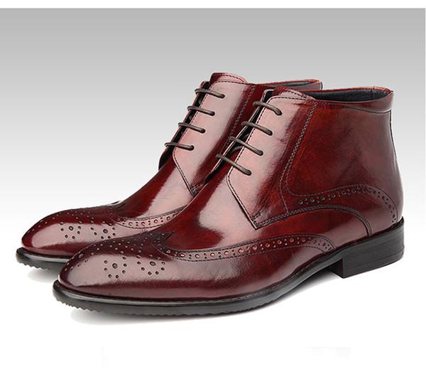 f2d43985 Moda para hombre gneuine cuero trabajo botas hombres otoño invierno negocio  casual botines hombre alta calidad