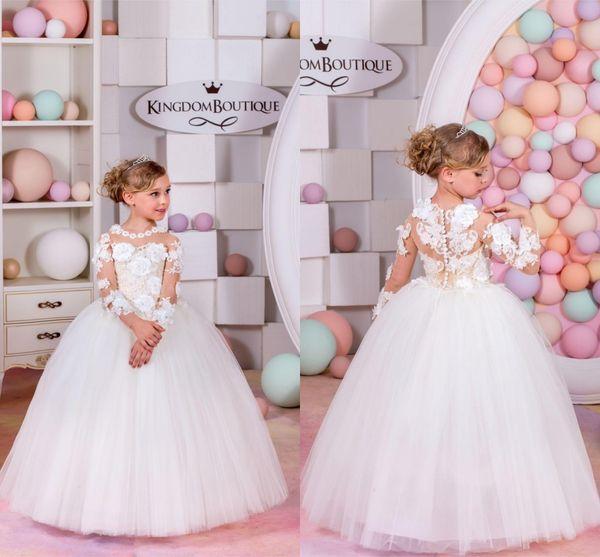 Custom Made Flower Girl Dresses for Wedding White Princess Tutu Handmade Flower Appliqued Lace Long Sleeve Child First Communion Dresses