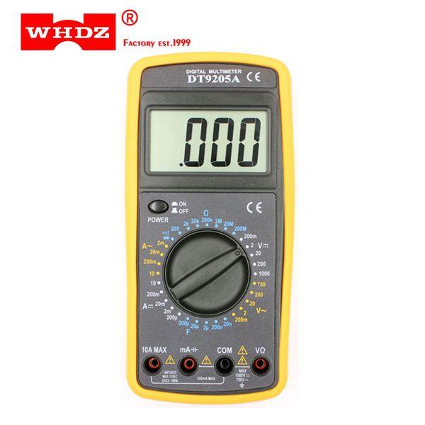 DHL 20 PZ WHDZ DT9205A Digitale Di Base Multimetro Capacità HFE Test Amperometro Voltmetro Resistenza Tester AC DC LCD Elettrico Portatile