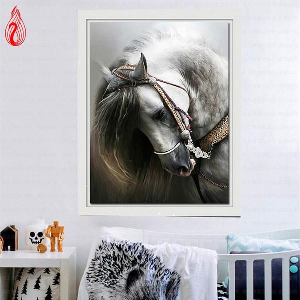 Promoção DIY 5D Diamante Bordado Cavalo Rodada Pintura Diamante Cross Stitch Kits Mosaico Pintura Decoração de Casa