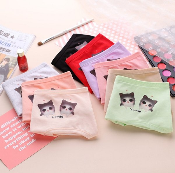 Wholesale women's panties cartoon animal cat cotton woman underwear 4pcs/lot for one gift box packed factory cheap price Dhl fast shipping